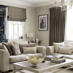neutral living room! love the wall color!