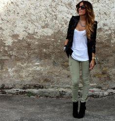 green + white + black jacket