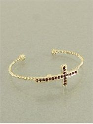 Amazon.com: Designer Inspired Gold Tone Cuff Bangle Bracelet with Amethyst Purple Sideway Side Cross.: Jewelry