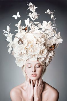 Seductive and surreal, Anna Halldin-Maule's figurative paintings are rendered in hyper-realistic perfection. Halldin-Maule is an exciting young artist who. Paper Fashion, Fashion Art, Dress Fashion, High Fashion, Flower Fashion, Butterfly Fashion, Origami Fashion, Fashion Ideas, Fashion Trends
