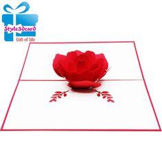 Rose 3d pop-up card/pattern