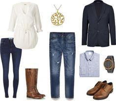 Couples Style - What to Wear Engagement Session - Fall Casual Navy Brown