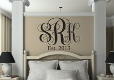 Three Initial Monogram Wall Decal - Bedroom Script Monogram Established Date Decals - Vinyl Wall Family