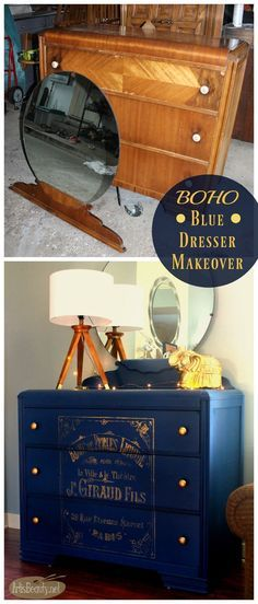 Maybe this color blue for the Wehrly desk? ART IS BEAUTY: Bohemian Blue Painted Vintage Dresser with French Graphic Refurbished Furniture, Paint Furniture, Repurposed Furniture, Furniture Projects, Furniture Makeover, Vintage Furniture, Home Furniture, Rustic Furniture, Rustic Dresser