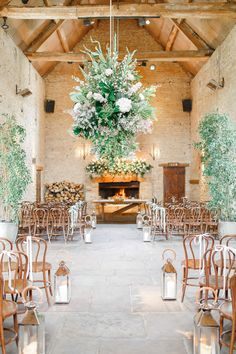 Barn Ceremony | Hanging Greenery Decor | Romantic Pastel Wedding at Cripps Barn | White Stag Wedding Photography | Dan Hodge Wedding Films