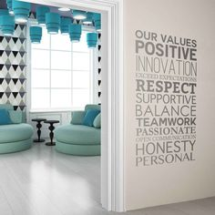 Company Values -Style 4 in Company Values Wall Stickers by Vinyl Impression Office Wall Design, Modern Office Design, Office Wall Art, Office Walls, Office Interior Design, Office Interiors, Office Decor, Company Office Ideas, Office Wall Graphics