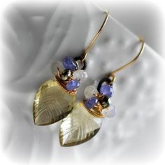 gemstone dangle earrings The ICED LEAVES by EmilieGrayJewels