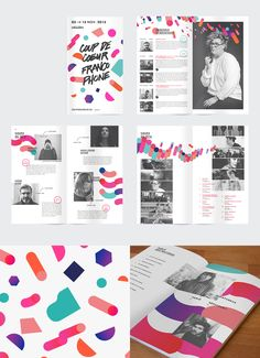 Editorial design for a printed program and/or brochure design for COUP DE COEUR FRANCOPHONE 2015 by multiple owners, via Behance.