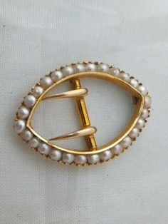 Fine Victorian 15ct gold seed Pearl miniature buckle