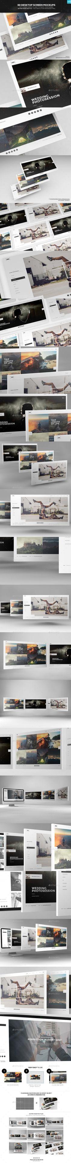 3D Desktop Screen Mockups  #themeforest • Click here to download ! http://graphicriver.net/item/3d-desktop-screen-mockups/7092445?ref=pxcr