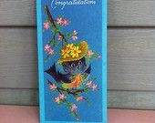 Vintage Greeting Card Congratulatory Bird with Hat Free Shipping
