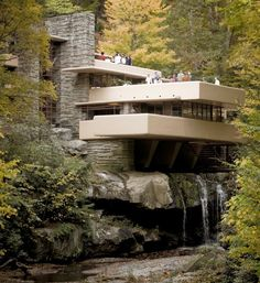 Fallingwater House (Kaufmann House) designed by Frank Lloyd Wright- Wikipedia, the free encyclopedia Architecture Design, Amazing Architecture, Organic Architecture, Proportion Architecture, Water Architecture, Falling Water House, Falling Waters, Falling Water Frank Lloyd Wright, House Worth
