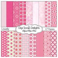 50% OFF TODAY Lovely Pink Digital Scrapbook by DigiScrapDelights  #scrapbooking #scrapbookingkits #pink #clipart # lovely #digiscrapdelights