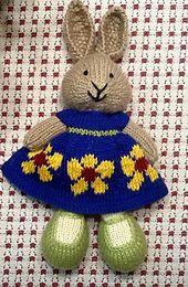 Ravelry: suzymarie's Cobalt Blue Dress Bunny Knitted Bunnies, Crochet Bunny, Knitted Animals, Knitted Dolls, Knit Or Crochet, Crochet Toys, Rabbit Toys, Bunny Toys, Bunny Rabbits