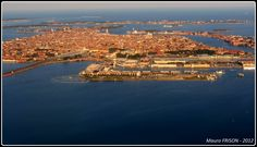 Venice from above /  In the late afternoon we reach the coast of the Adriatic Sea near Venice.