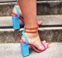 Colorblock statement heels