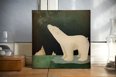 POLAR BEAR CONSTELLATION ready-to-hang canvas.  Stargazing polar bear adrift on an iceberg. What do you see up there in the sky tonight, polar