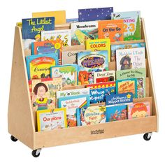 Birch Book Display Stand with Storage, Wood Book Shelf Organizer for Kids, 5 Shelves with 2 Compartments, Natural Book Display Stand, Book Displays, Display Case, Preschool Library, Dear Zoo, Library Organization, Book Racks, Wood Book, Classroom Design