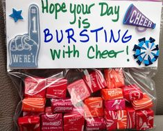 """Good Luck Cheer Competition Gift - for cheer squad: Blow-Pops, """"Blow the Competition Away"""" on the tag. Description from pinterest.com. I searched for this on bing.com/images"""