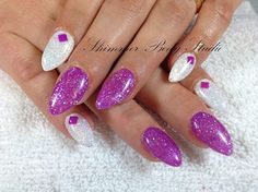 Gel Nails, glitter nails, purple and white nails, studs nail art by Shimmer Body Studio