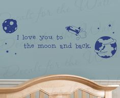 I Love You to the Moon And Back  Kids Boy Baby Room Nursery Rhyme Rocket Ship Planets Stars Sky  Wall Decal Lettering Art  Vinyl Quote Sticker Decoration  Mural Graphic Decor Saying -- Want to know more, click on the image. (Note:Amazon affiliate link)