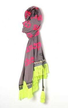 Neon Belle Scarf By Karien Belle – Grey/Pink – Hand Embroidered