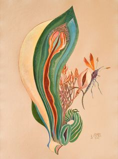 Crazy Happy June 29 - July 30 Painted Scrolls by Rikki Ducornet & Sculpture by Margie McDonald Northwind Gallery, Port Townsend, WA, 2017 Dorothea Tanning, Happy June, Jungle Love, Image Photography, Vintage Art, Book Worms, Watercolor Tattoo, Rooster, Abstract Art