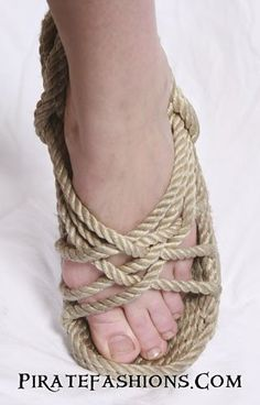 These here rope sandals be the most affordable foot covering a pirate can have other then one's bare feet.• Comes in two colors: Natural o' Black• Made of polyp