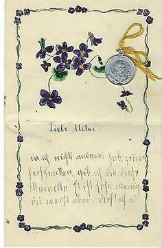 ALTE HANDSCHRIFT MIT Gemalten Blümchen+Medaille Vom Papst Aus 1908+Hl.maria1910 - EUR 1,00 | PicClick DE