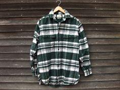 LL Bean Green Plaid Flannel Vintage Shirt Mens Small