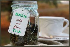 Make your own cold and flu tea - for when you feel worn out and a sore throat coming on.  Includes echinacea, peppermint, lemon balm leaves, elder berries