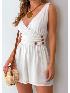 Macaquinho-Viscolinho-Laura Summer Wear, Summer Outfits, Casual Outfits, Cute Outfits, Summer Dresses, Handmade Clothes, Diy Clothes, Culottes, Fashion Dresses