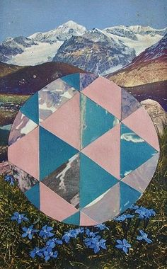Mountain Geometric Collage Print by RachellovesBob Geometric Photography, Space Photography, Photography Projects, Artistic Photography, Colour Photography, Geometric Nature, Geometric Graphic, Geometric Designs, Geometric Shapes