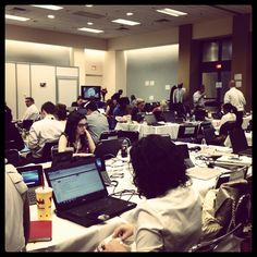 Inside the joint press office at the convention center.