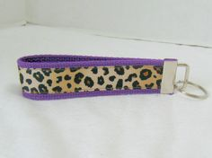 Cheetah Key Fob Purple Animal Print Key Chain by CreativeJenV, $5.25