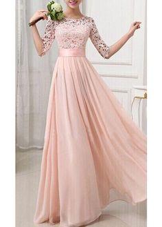 Charming Pierced Sleeve Zipper Closure Maxi Dress - Pink