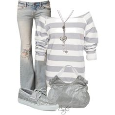 White/Grey stripe off-shoulder sweatshirt, Lt. wash destroyed bootcut jeans, Silver sequin sperrys, Silver tote bag, Silver long necklace