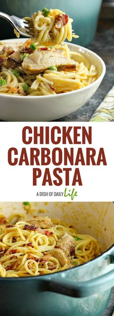 Fast, easy and delicious, this Chicken Carbonara Pasta is a comfort food recipe that is sure to be a hit with the whole family! You can use leftover grilled chicken as well. Chicken | Main Dishes | Pasta | Carbonara | Dinner | Comfort Food