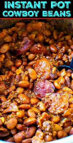 Instant Pot Cowboy Beans with 3 kinds of meat. Instant Pot Cowboy Beans are wonderfully thick, tangy, and smoky with 3 kinds of meat. This hearty side dish makes a great addition to a picnic, bbq, or cookout. Best Instant Pot Recipe, Instant Pot Dinner Recipes, Instant Pot Meals, Instant Pot Pressure Cooker, Pressure Cooker Recipes, Pressure Cooking, Cowboy Beans, Frijoles, Barbacoa