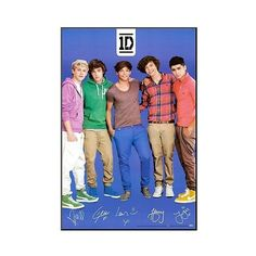 Art.com One Direction Signatures Blue Mounted Print, Princess Blue ($103) ❤ liked on Polyvore featuring home, home decor, wall art, one direction, blue, framed posters, blue home decor, framed wall art, one direction posters and blue wall art