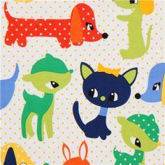 white baby animal fabric Michael Miller green-blue 1