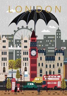 London City Poster Travel Print Wall Art von NordicDesignHouse