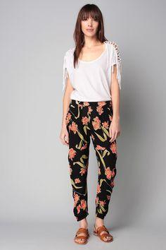 Pantalon noir imprimé fleurs Crush Starter Volcom sur MonShowroom.com