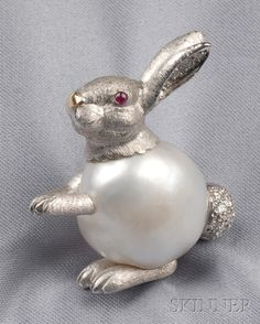 18kt White Gold, Baroque Pearl, and Diamond Rabbit Brooch, E. Wolfe & Co., London