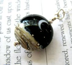 Lampwork pendant necklace, Sterling silver, Midnight black, Crescent moon and Silvery stars, Handmade jewelry.