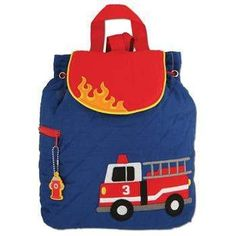 Stephen Joseph Firetruck Monogrammed Quilted Backpack for Boys
