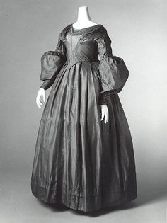 Dress Date: 1843 Culture: American Medium: silk Dimensions: Length at CB: 51 in. (129.5 cm) Credit Line: Gift of Philip Tear, Richard Tear and Alice Tear Copeland, 1995