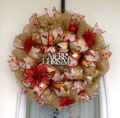 """22"""" Burlap/Gold Deco Mesh Christmas Wreath with Red & Gold Glitter Poinsettias, Ornaments, Ribbons & White Glitter Merry Christmas Sign"""