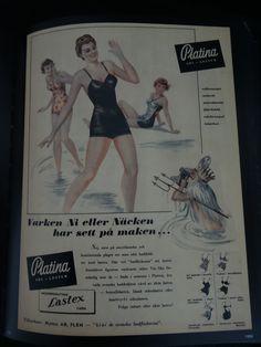 """""""Platina Sol - Lastex. Tillverkare: Nymo AB Flen - """"klär de svenska badflickorna"""" I 1950"""