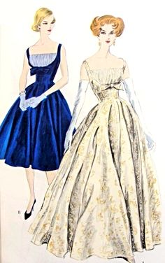 1950s GORGEOUS Evening Gown or Cocktail Dress Pattern Vogue Couturier Design 191  Shirred Bodice Shelf Bust Very Fitted Figure Flattering Design Full Skirt Bust 32 Vintage Sewing Pattern RARE